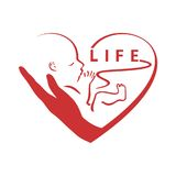 Pro life. Pro - life, embryo in hand, surrounded by heart , logo Royalty Free Stock Photography