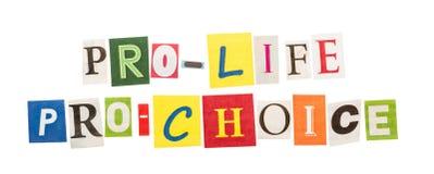 Pro life and pro choice inscriptions Stock Photo