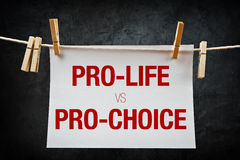 Pro-life vs pro-choice, abortion concept. Pro-life vs pro-choice, female right on abortion concept royalty free stock photos