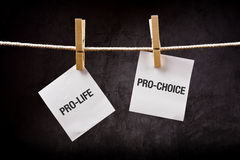 Pro-life vs pro-choice, abortion concept. Pro-life vs pro-choice, female right on abortion concept royalty free stock images