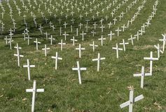 Pro-life White Crosses. Field of white crosses representing abortions of human babies.  Promoting pro-life stock photo