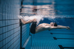 Pro male swimmer in action inside swimming pool Royalty Free Stock Images