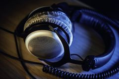 Pro mastering headphones for audiophiles stock photography