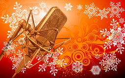 Pro microphone & snowflakes Royalty Free Stock Image