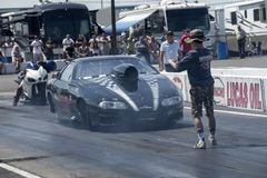 Pro mod drag car in preparation on the track at the starting line Royalty Free Stock Image