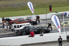 Pro mod drag car at the starting line royalty free stock photography