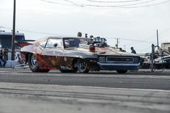Pro mod drag car at the starting line. Picture of pro mod drag car in preparation at the starting line on the track during the john scotti all out, august 20 Royalty Free Stock Photography