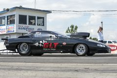 Pro mod drag car on the track at the starting line Stock Photo