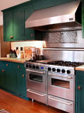 Pro model kitchen stove. In remolded kitchen with green cabinets Stock Photography
