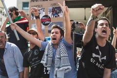 Pro-palästinensische Demonstranten wetteifern die jüdische Brigade Lizenzfreie Stockfotos