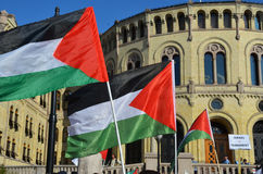 Pro-Palestine protest at the Norwegian Parliament. Palestinians and pro-Palestine groups protest against Israel outside of the Norwegian Parliament (Stortinget) Royalty Free Stock Photo
