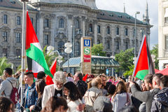 Pro-Palestinian activists at the demonstrations Stock Image