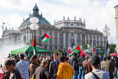 Pro-Palestinian demonstration in the central square of European Royalty Free Stock Photography