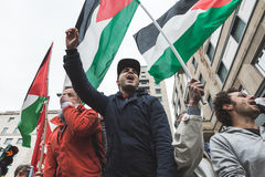 Pro-Palestinian demonstrators contest the Jewish Brigade Stock Photography