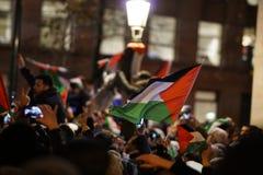 Pro--palestinier protest efter U S förklaring som igenkännande av staden av Jerusalem som huvudstaden av Israel arkivbilder