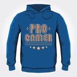 Pro progettazione della stampa di maglia con cappuccio di vettore del Gamer Immagine Stock