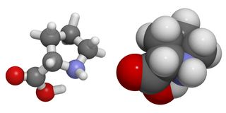 Pro Proline (, P) molecule Royalty-vrije Stock Afbeeldingen