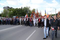 Pro-Russian supporters arrive at Chisinau memorial Royalty Free Stock Photos