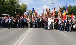 Pro-Russian supporters arrive at Chisinau memorial Royalty Free Stock Photography