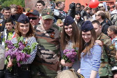Pro-Russian supporters arrive at Chisinau memorial Stock Photos