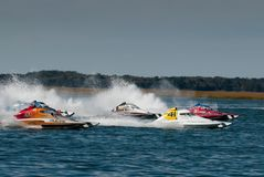 Pro Stock Boat Race. Pro Stock speedboat racing in the back bay at Wildwood Crest HydroFest  - New Jersey Governor's Cup Boat race & North American Championships Stock Image
