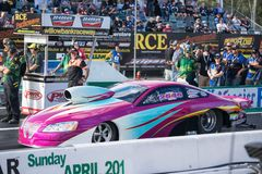 Pro Stock Category 2018 Winternationals Ipswich Australia. A pro stock car at the starting line during the celebration of the 2018 Gulf western Oils royalty free stock photo