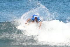 Pro surf Carlos Cabrero. In quarterfinals at the Corona Extra Pro Surf Championship at Domes Beach, Rincon, Puerto Rico Stock Image
