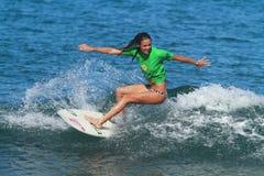 Pro surfer Amy Murphree. Pro women surfer Amy Murphree at the 2012 Corona Extra Surf Championship at Domes Beach, Rincon, Puerto Rico Stock Photos