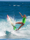 Pro surfer girl. Pro surfer Anastasia Ashley winner of the recent event in Middles Beach 2008 in Puerto Rico Royalty Free Stock Photo