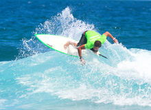 Pro surfer Jose Lopez. In recent event in Middles Beach in Puerto Rico Stock Photo