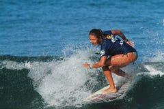 Pro surfer Lilac Alvarado. Pro women surfer Lilac Alvarado at the 2012 Corona Extra Surf Championship at Domes Beach, Rincon, Puerto Rico Royalty Free Stock Images