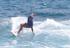 Pro surfer Liselie Gonzalez. Pro surfer, Liselie Gonzalez, winner of the 2010 Corona Extra Pro Surf Circuit held at Middles Beach, Isabela, Puerto Rico Stock Images