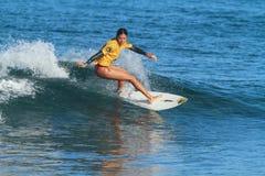 Pro surfer Maria del Mar Gonzalez. Pro women surfer Maria Del Mar Gonzalez at the 2012 Corona Extra Surf Championship at Domes Beach, Rincon, Puerto Rico Stock Images