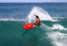 Pro Surfer Mike Latronic Surfing in Hawaii Stock Image