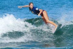 Pro surfer Quincy Davis. Pro women surfer Quincy Davis, winner of the 2012 Corona Extra Surf Championship at Domes Beach, Rincon, Puerto Rico Stock Photos