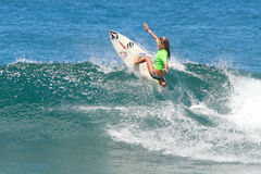 Pro surfer Quincy Jones. Pro surfer Gabriel Escudero quarterfinals Royalty Free Stock Photos