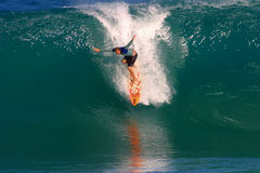 Pro Surfer, Ross Williams Surfing at Backdoor. Professional Surfer, Ross Williams surfing at Backdoor on the North Shore of Oahu, Hawaii stock photo