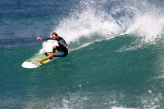 Pro Surfer Shane Beschen Surfing in Hawaii Royalty Free Stock Photography