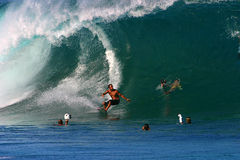 Pro Surfer Shane Dorian Surfing at Pipeline Royalty Free Stock Images