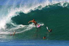Pro Surfer Shane Dorian Surfing at Pipeline Royalty Free Stock Photo