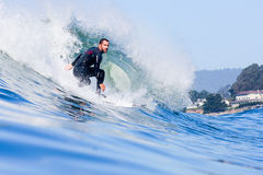 Pro Surfer Tyler Fox Riding a Wave in California Stock Photo