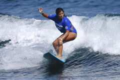 Pro surfer woman Idalis Alvarado. Pro surfer woman Idalis Lilac Alvarado, winner of the Corona Extra Pro Surf Circuit Event, held at Middles Beach, Isabela Stock Images