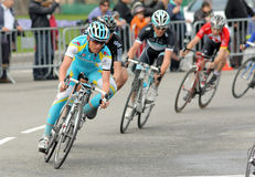 Pro Team Astana's cyclist Russian Evgeni Petrov. Rides with the pack during the Tour of Catalonia cycling race in Barcelona on March 27, 2011 Stock Images