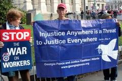 Pro-Trabalhe a marcha de protesto em Atlanta Imagens de Stock