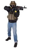 Pro-Ukrainian volunteer with AK 47 Royalty Free Stock Image