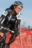 Pro Woman Cyclocross Racer Stock Photography