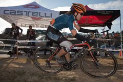 Pro Woman Cyclocross Racer Stock Images