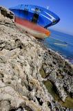 proa de un buque de petróleo arruinado   Foto de archivo