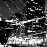 Proa del velero y horizonte de Nueva York Imagen de archivo
