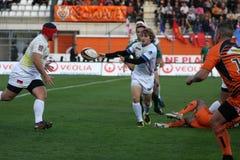 Proabgleichung RCNM des Rugbys D2 gegen Stade Montois Stockfotografie